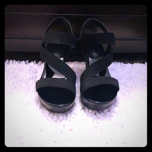Patent Leather Black Strappy Wedges